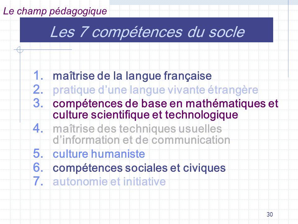 30 Les 7 compétences du socle 1.maîtrise de la langue française 2.