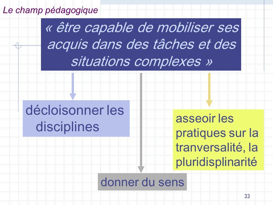 33 « être capable de mobiliser ses acquis dans des tâches et des situations complexes » décloisonner les disciplines Le champ pédagogique donner du sens asseoir les pratiques sur la tranversalité, la pluridisplinarité