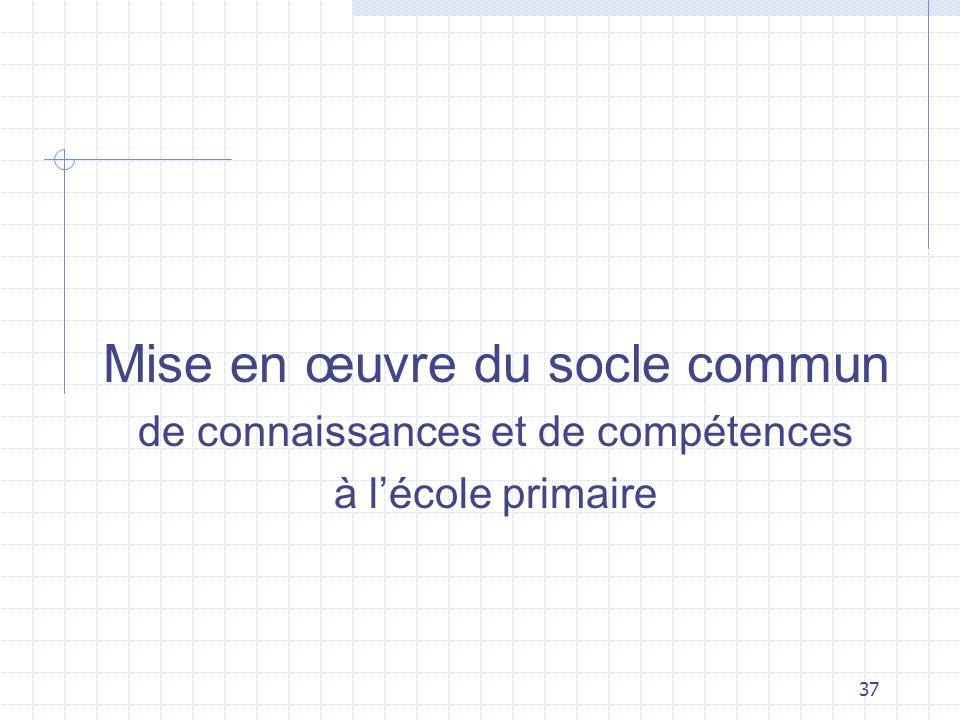 37 Mise en œuvre du socle commun de connaissances et de compétences à lécole primaire