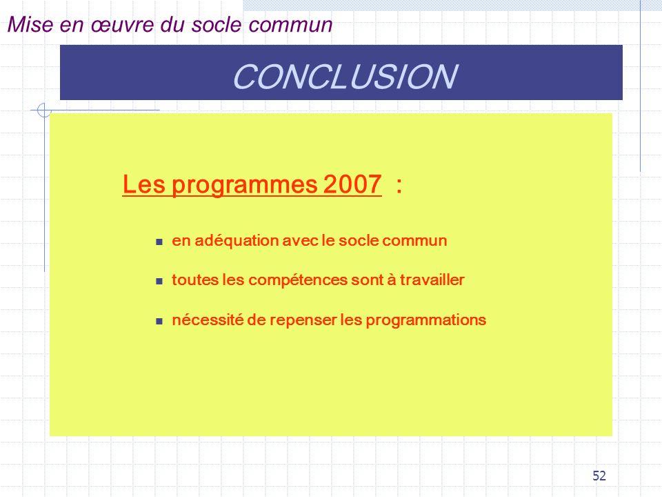 52 Les programmes 2007 : en adéquation avec le socle commun toutes les compétences sont à travailler nécessité de repenser les programmations Mise en œuvre du socle commun CONCLUSION