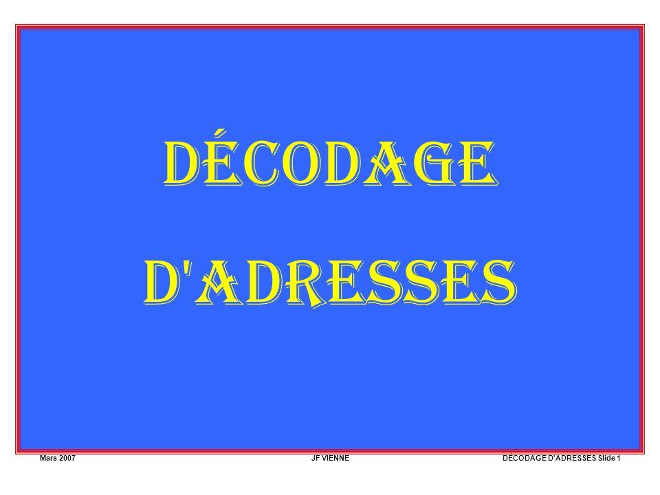 Mars 2007JF VIENNEDÉCODAGE D'ADRESSES Slide 1 DÉCODAGE D'ADRESSES
