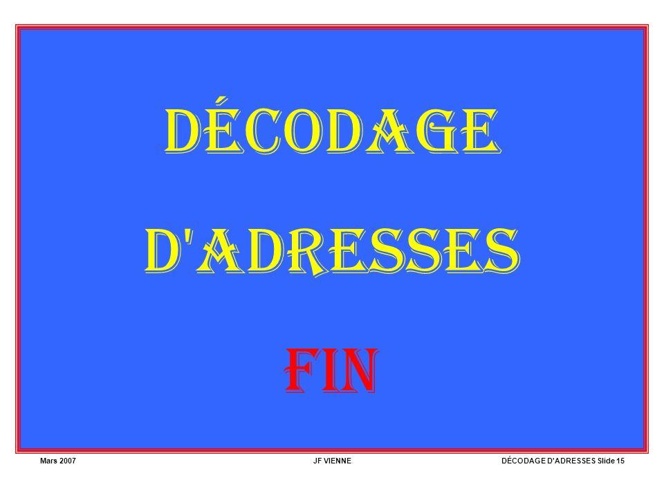 Mars 2007JF VIENNEDÉCODAGE D ADRESSES Slide 15 DÉCODAGE D ADRESSES FIN