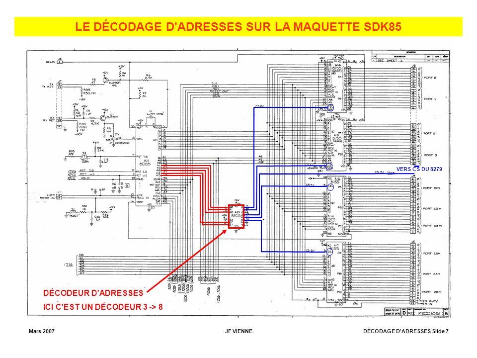 Mars 2007JF VIENNEDÉCODAGE D ADRESSES Slide 7 LE DÉCODAGE D ADRESSES SUR LA MAQUETTE SDK85 VERS CS DU 8279 DÉCODEUR D ADRESSES ICI C EST UN DÉCODEUR 3 -> 8