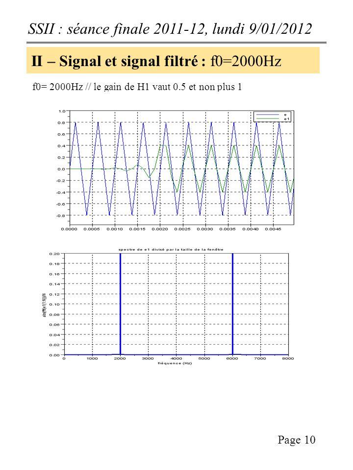 SSII : séance finale 2011-12, lundi 9/01/2012 Page 10 II – Signal et signal filtré : f0=2000Hz f0= 2000Hz // le gain de H1 vaut 0.5 et non plus 1