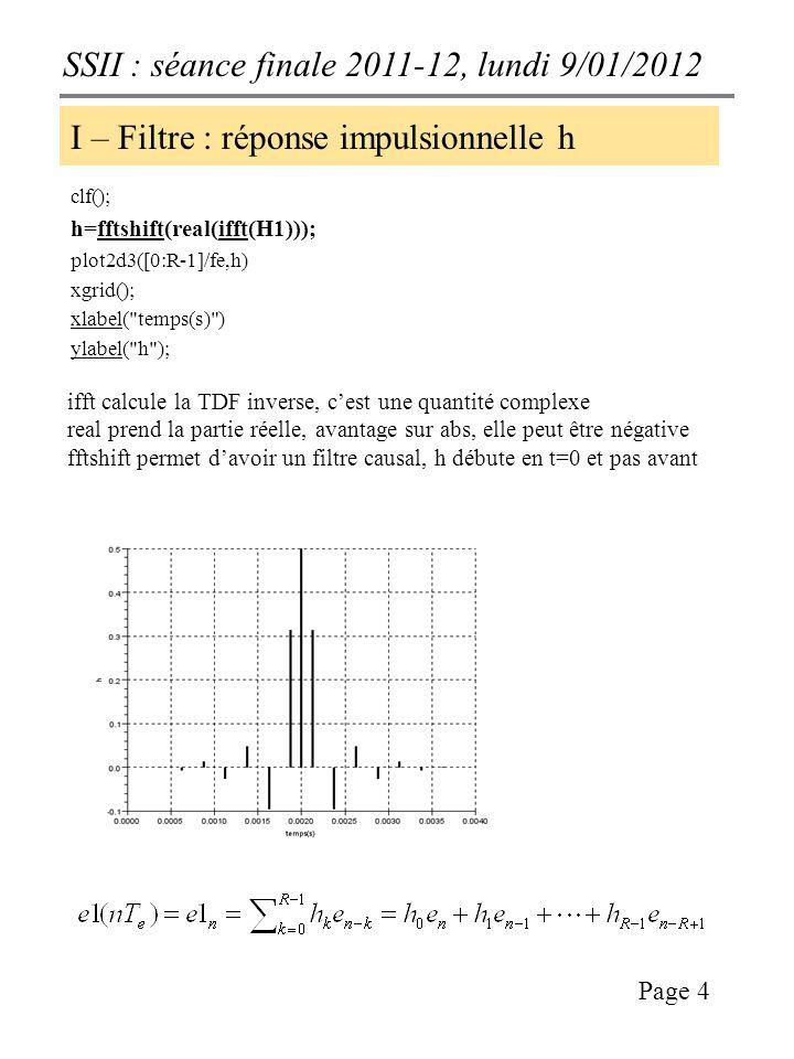 SSII : séance finale 2011-12, lundi 9/01/2012 Page 4 I – Filtre : réponse impulsionnelle h clf(); h=fftshift(real(ifft(H1))); plot2d3([0:R-1]/fe,h) xgrid(); xlabel( temps(s) ) ylabel( h ); ifft calcule la TDF inverse, cest une quantité complexe real prend la partie réelle, avantage sur abs, elle peut être négative fftshift permet davoir un filtre causal, h débute en t=0 et pas avant