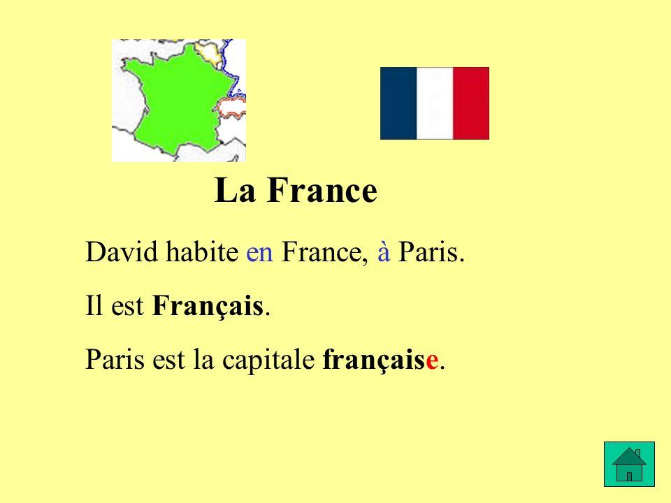 La France David habite en France, à Paris. Il est Français. Paris est la capitale française.