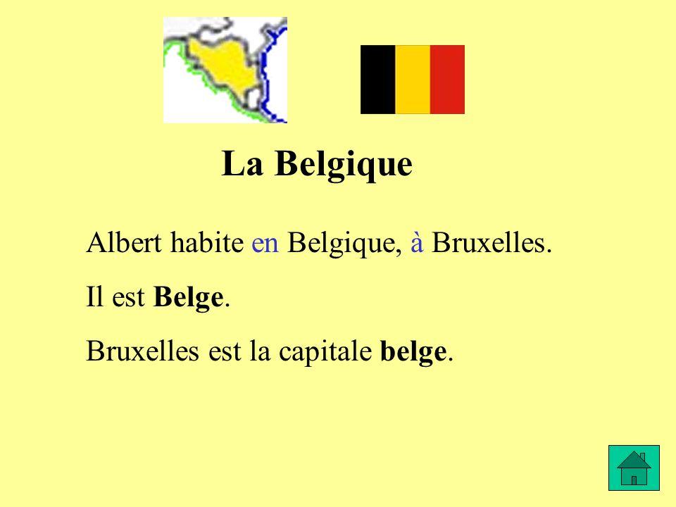 La Belgique Albert habite en Belgique, à Bruxelles. Il est Belge. Bruxelles est la capitale belge.