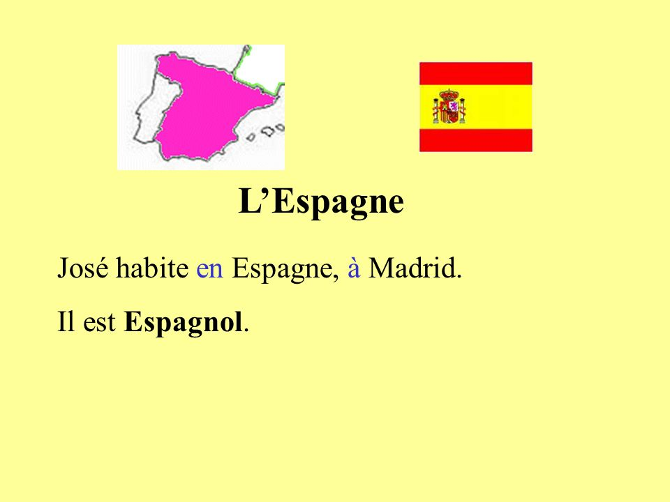 LEspagne José habite en Espagne, à Madrid. Il est Espagnol.