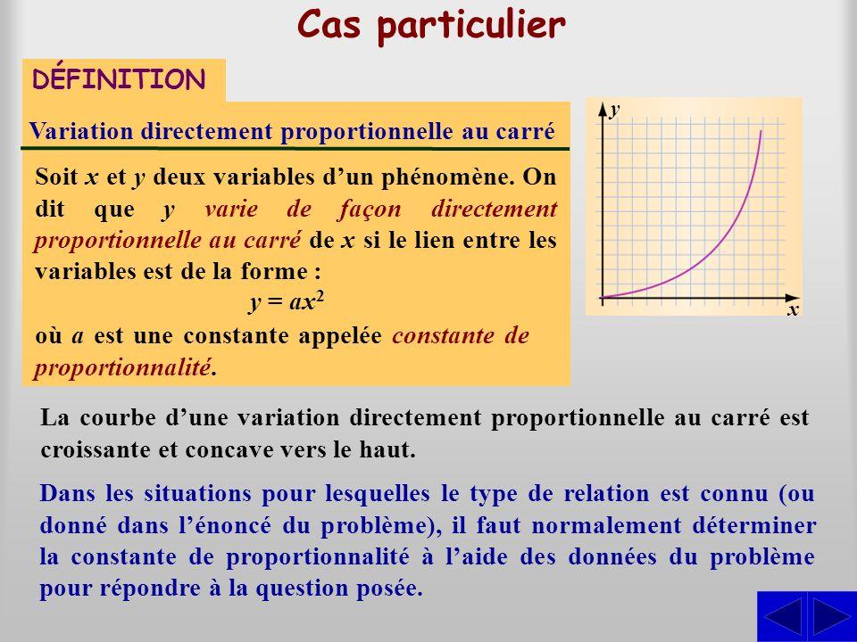 Cas particulier DÉFINITION Variation directement proportionnelle au carré Soit x et y deux variables dun phénomène. On dit que y varie de façon direct