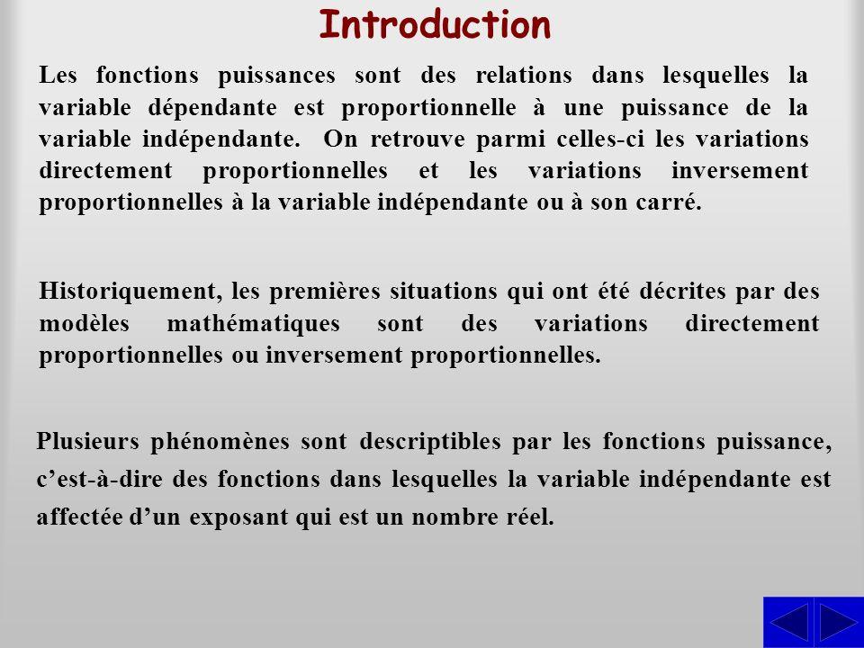 Introduction Les fonctions puissances sont des relations dans lesquelles la variable dépendante est proportionnelle à une puissance de la variable ind