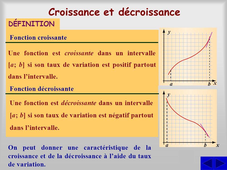 Croissance et décroissance DÉFINITION Fonction croissante Une fonction est croissante dans un intervalle si la valeur de la variable dépendante augmen