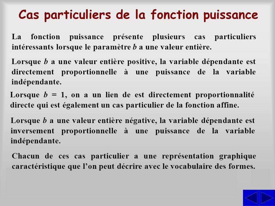 S La fonction puissance présente plusieurs cas particuliers intéressants lorsque le paramètre b a une valeur entière. Cas particuliers de la fonction