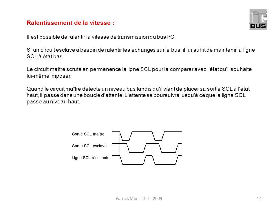 Ralentissement de la vitesse : Il est possible de ralentir la vitesse de transmission du bus I²C. Si un circuit esclave a besoin de ralentir les échan