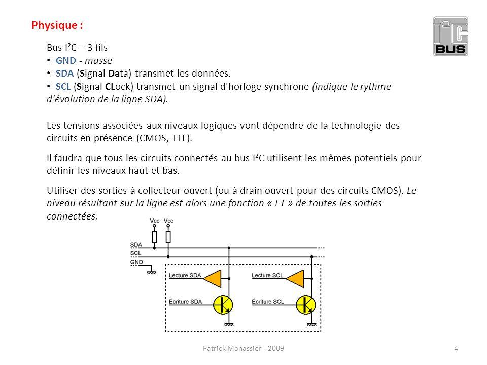 Bus I²C – 3 fils GND - masse SDA (Signal Data) transmet les données. SCL (Signal CLock) transmet un signal d'horloge synchrone (indique le rythme d'év