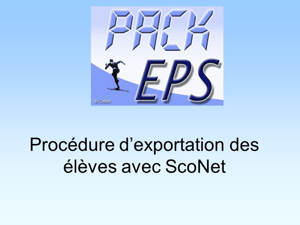 Procédure dexportation des élèves avec ScoNet