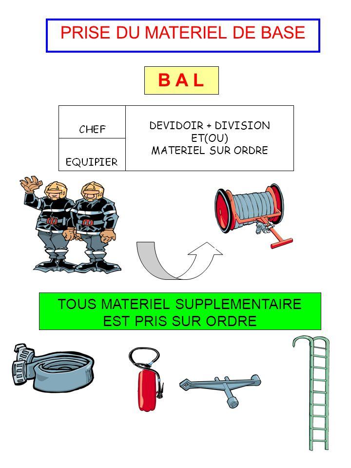 PRISE DU MATERIEL DE BASE B A L DEVIDOIR + DIVISION ET(OU) MATERIEL SUR ORDRE TOUS MATERIEL SUPPLEMENTAIRE EST PRIS SUR ORDRE