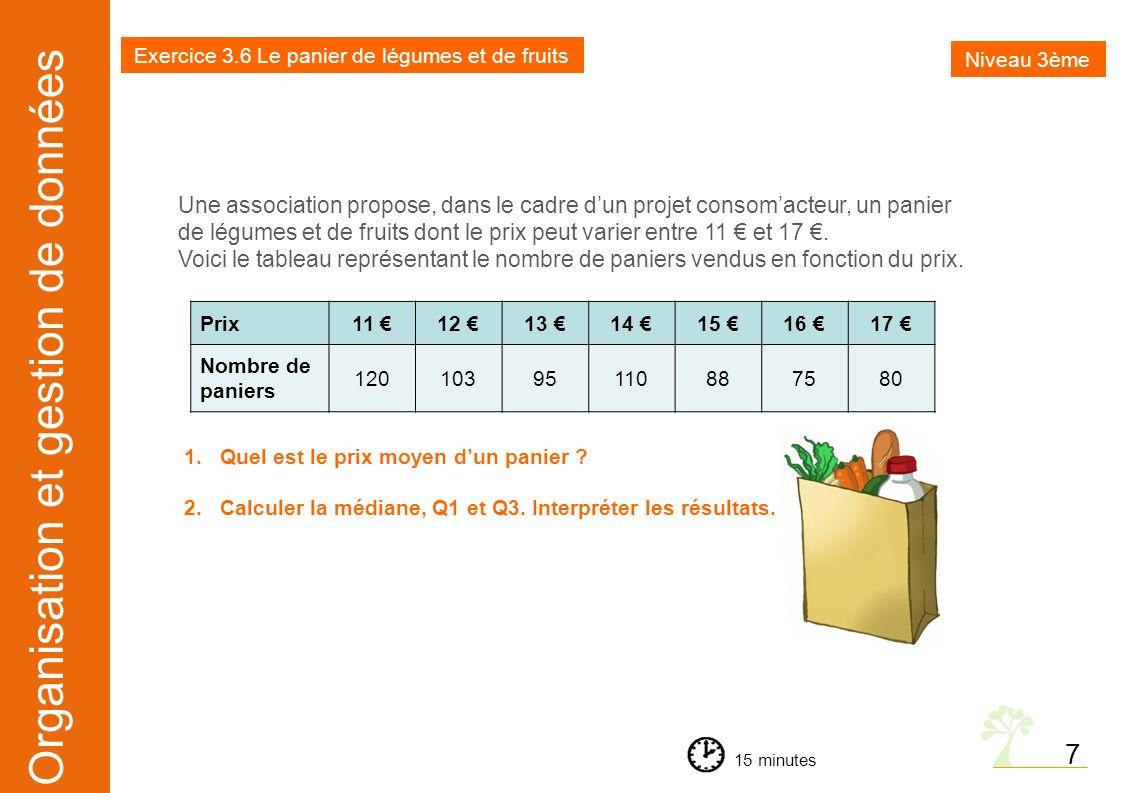 Organisation et gestion de données Exercice 3.6 Le panier de légumes et de fruits Niveau 3ème 15 minutes 7 Une association propose, dans le cadre dun
