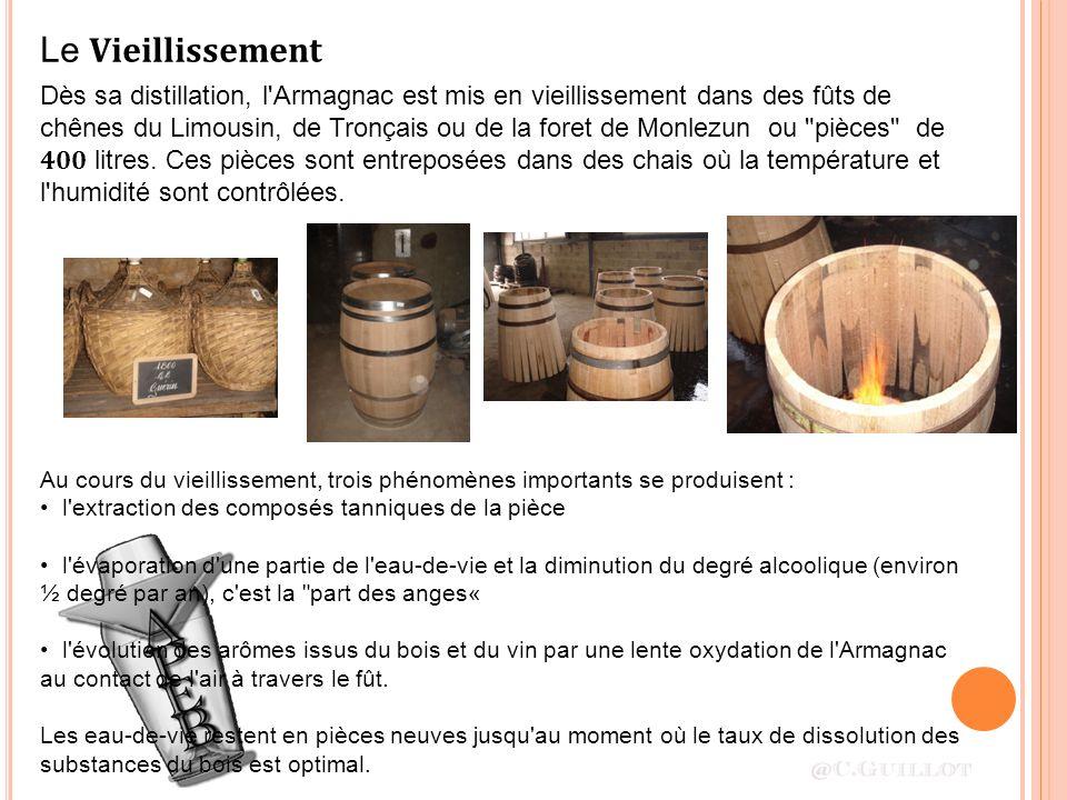 Dès sa distillation, l'Armagnac est mis en vieillissement dans des fûts de chênes du Limousin, de Tronçais ou de la foret de Monlezun ou