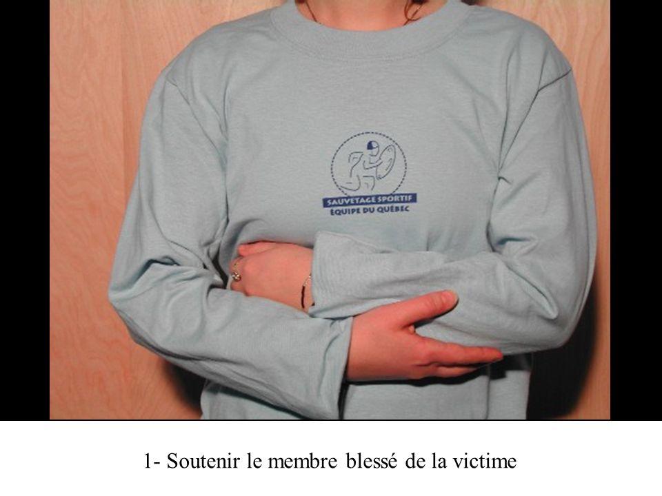 2- Glisser une bande triangulaire sous le bras blessé, le sommet pointant vers le coude du bras blessé