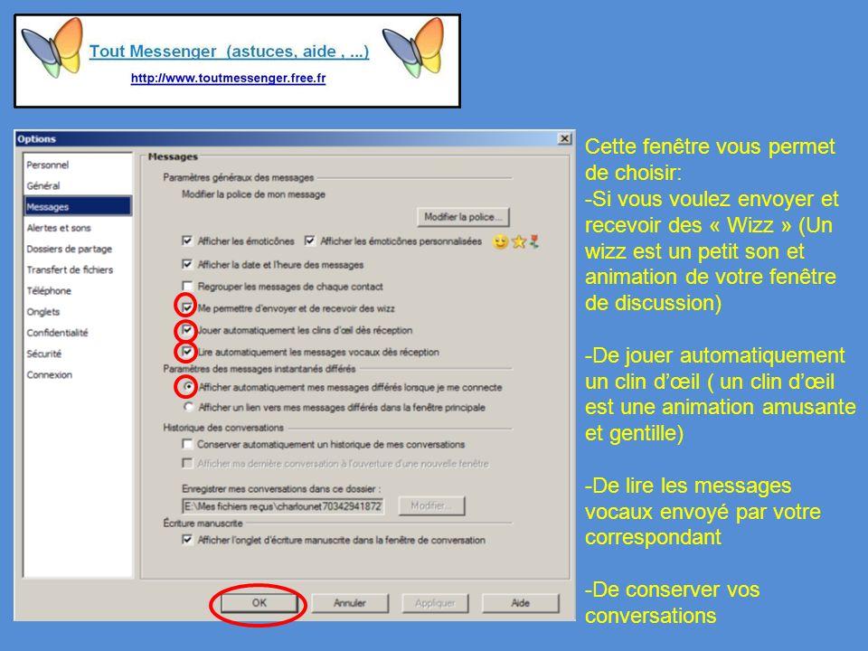 Cette fenêtre vous permet de choisir: -Si vous voulez envoyer et recevoir des « Wizz » (Un wizz est un petit son et animation de votre fenêtre de discussion) -De jouer automatiquement un clin dœil ( un clin dœil est une animation amusante et gentille) -De lire les messages vocaux envoyé par votre correspondant -De conserver vos conversations