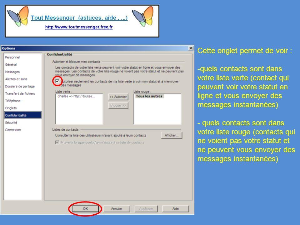 Cette onglet permet de voir : -quels contacts sont dans votre liste verte (contact qui peuvent voir votre statut en ligne et vous envoyer des messages instantanées) - quels contacts sont dans votre liste rouge (contacts qui ne voient pas votre statut et ne peuvent vous envoyer des messages instantanées)