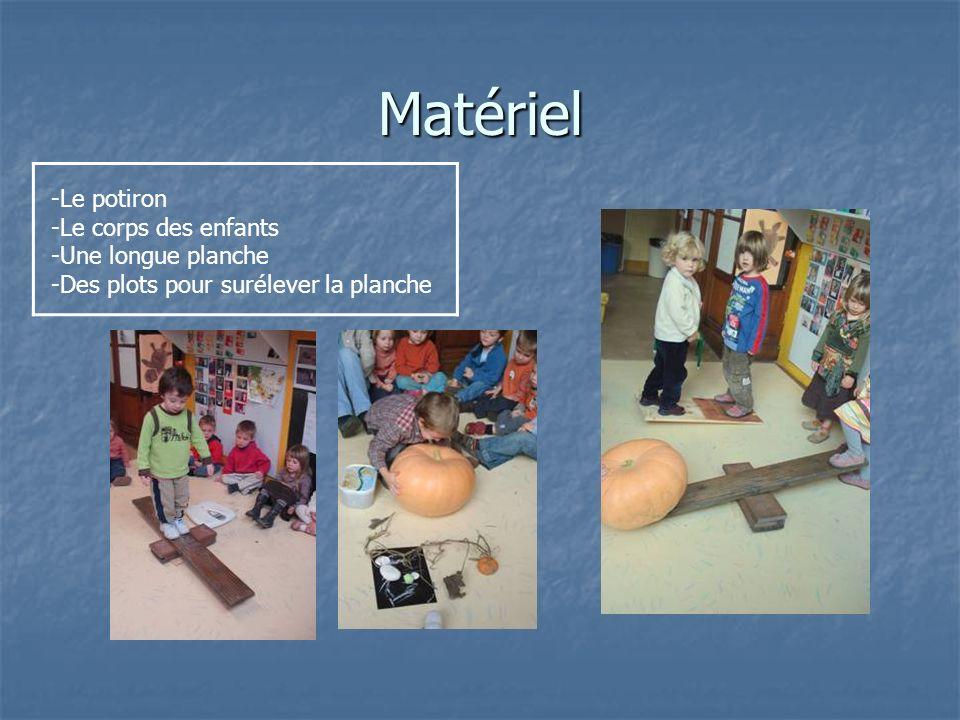 Matériel -Le potiron -Le corps des enfants -Une longue planche -Des plots pour surélever la planche