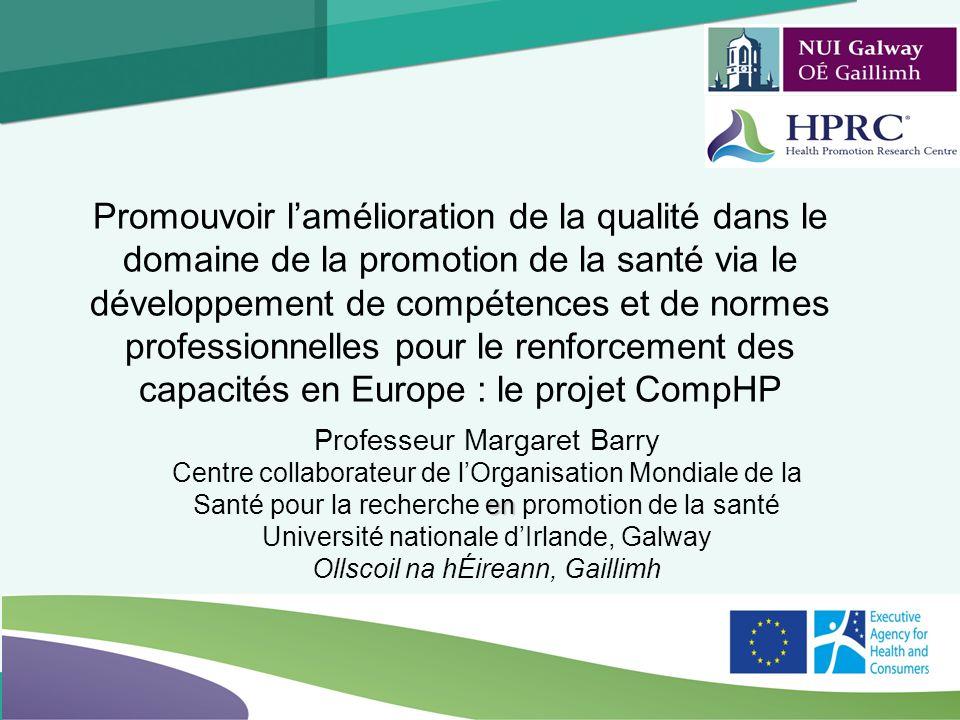 1 Logo Professeur Margaret Barry en Centre collaborateur de lOrganisation Mondiale de la Santé pour la recherche en promotion de la santé Université n
