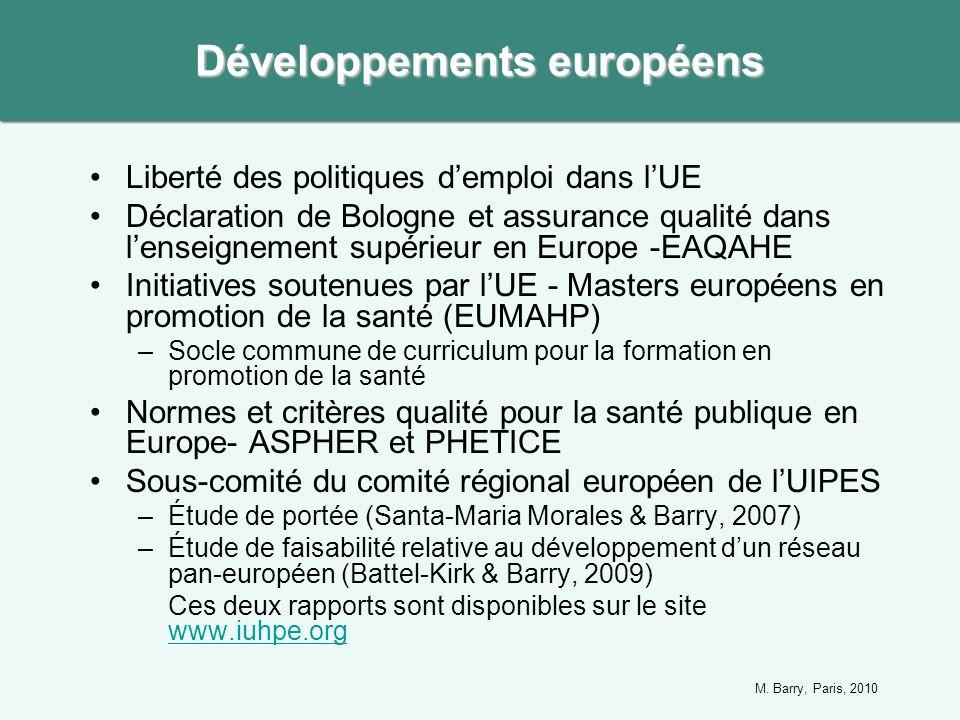Liberté des politiques demploi dans lUE Déclaration de Bologne et assurance qualité dans lenseignement supérieur en Europe -EAQAHE Initiatives soutenu
