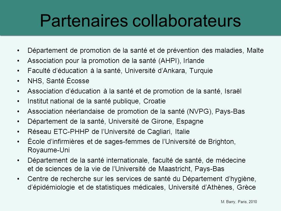 Partenaires collaborateurs Département de promotion de la santé et de prévention des maladies, Malte Association pour la promotion de la santé (AHPI),