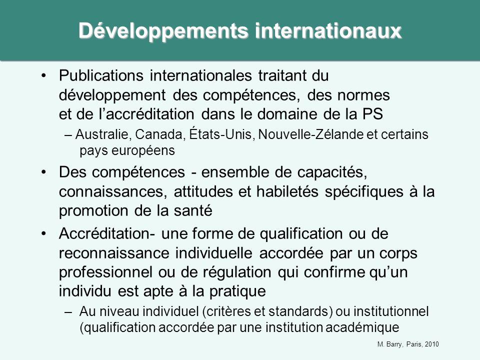 Publications internationales traitant du développement des compétences, des normes et de laccréditation dans le domaine de la PS – Australie, Canada,