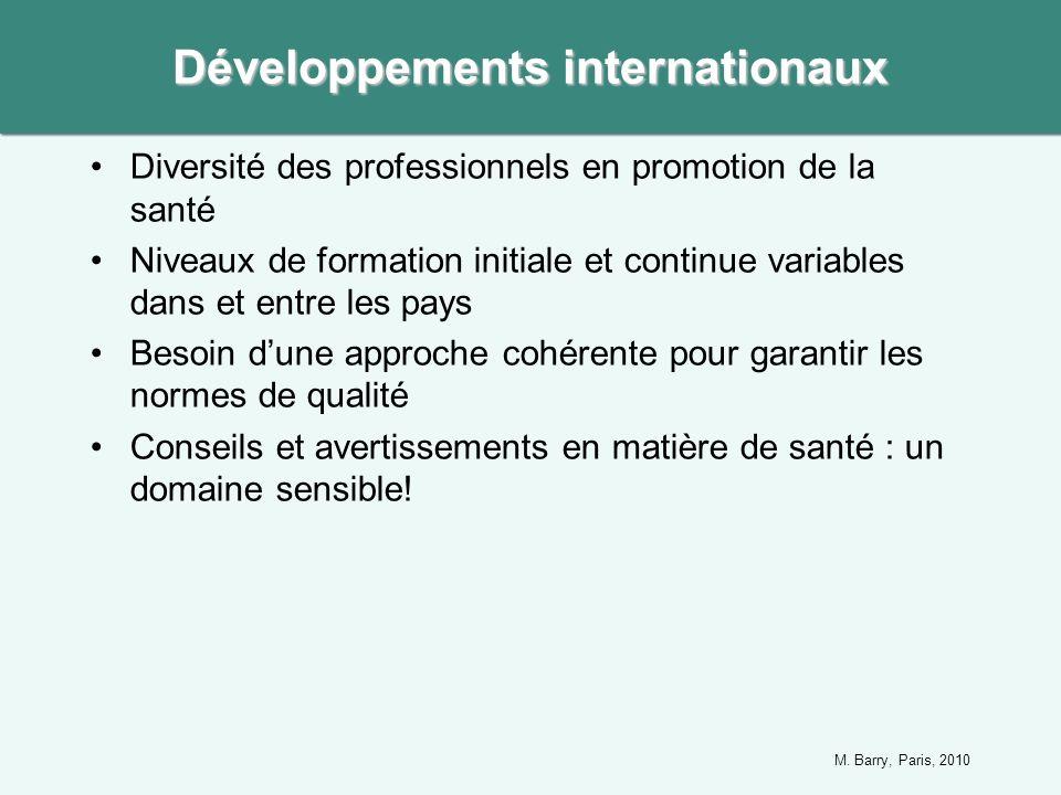 Diversité des professionnels en promotion de la santé Niveaux de formation initiale et continue variables dans et entre les pays Besoin dune approche