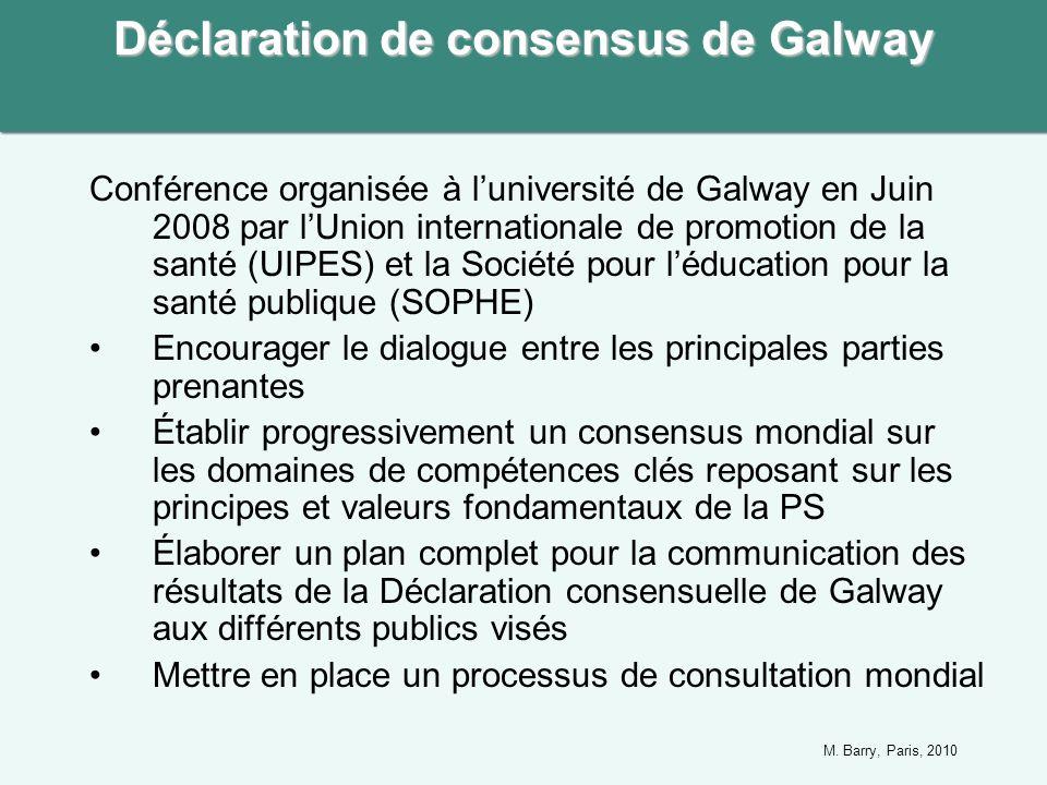 Conférence organisée à luniversité de Galway en Juin 2008 par lUnion internationale de promotion de la santé (UIPES) et la Société pour léducation pour la santé publique (SOPHE) Encourager le dialogue entre les principales parties prenantes Établir progressivement un consensus mondial sur les domaines de compétences clés reposant sur les principes et valeurs fondamentaux de la PS Élaborer un plan complet pour la communication des résultats de la Déclaration consensuelle de Galway aux différents publics visés Mettre en place un processus de consultation mondial Déclaration de consensus de Galway M.