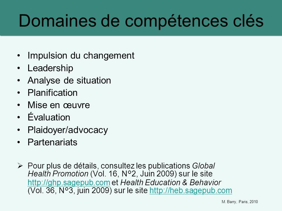 Domaines de compétences clés Impulsion du changement Leadership Analyse de situation Planification Mise en œuvre Évaluation Plaidoyer/advocacy Partena