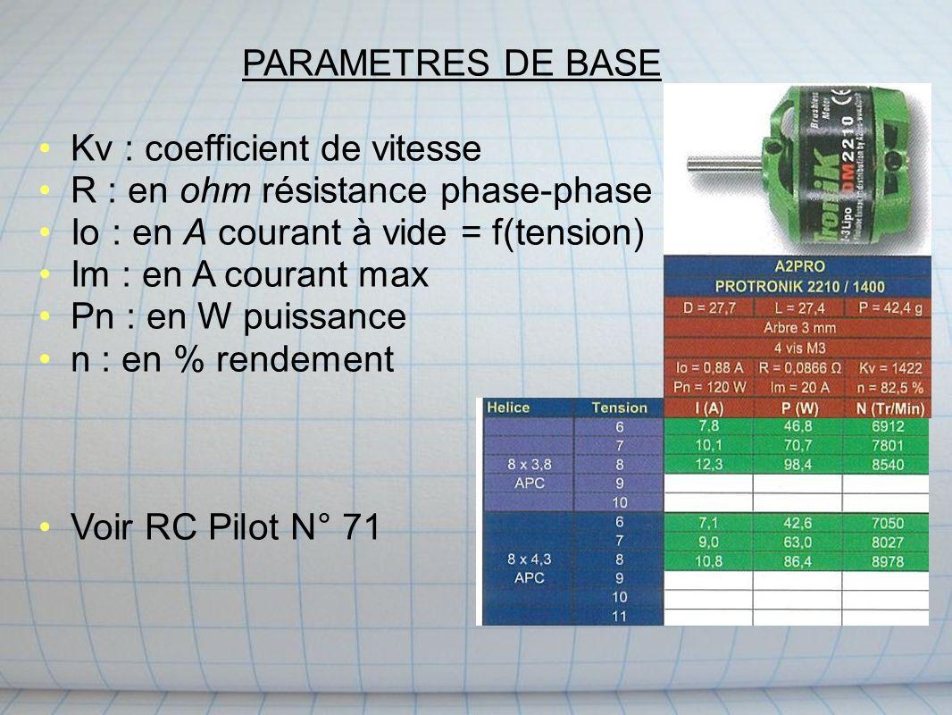 PARAMETRES DE BASE Kv : coefficient de vitesse R : en ohm résistance phase-phase Io : en A courant à vide = f(tension) Im : en A courant max Pn : en W puissance n : en % rendement Voir RC Pilot N° 71