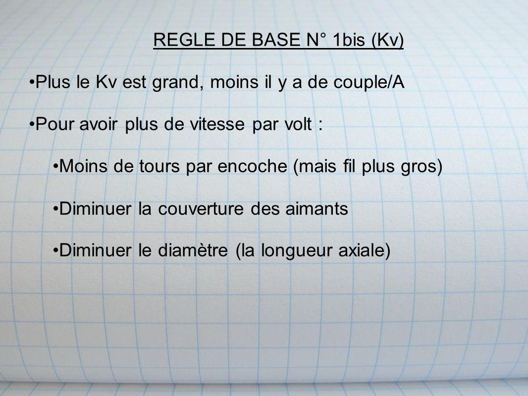 REGLE DE BASE N° 1bis (Kv) Plus le Kv est grand, moins il y a de couple/A Pour avoir plus de vitesse par volt : Moins de tours par encoche (mais fil plus gros) Diminuer la couverture des aimants Diminuer le diamètre (la longueur axiale)