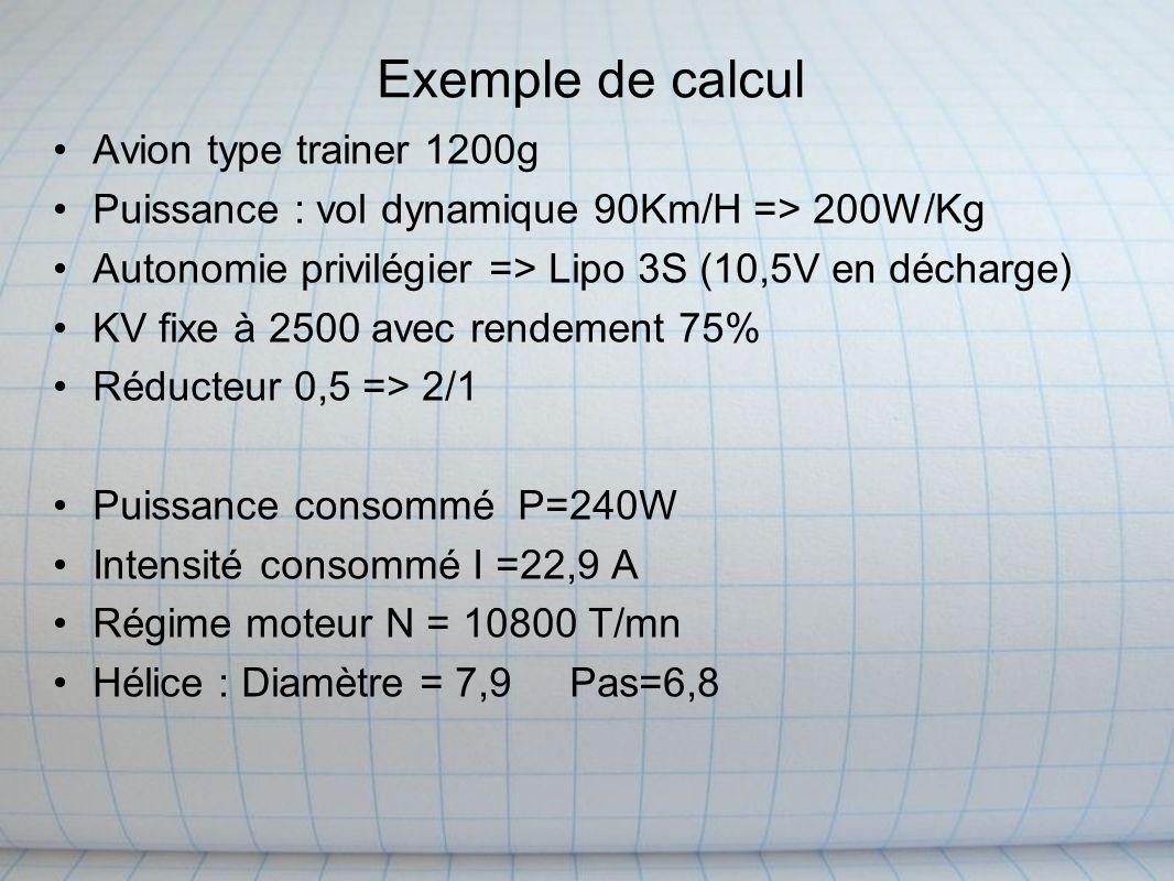 Exemple de calcul Avion type trainer 1200g Puissance : vol dynamique 90Km/H => 200W/Kg Autonomie privilégier => Lipo 3S (10,5V en décharge) KV fixe à 2500 avec rendement 75% Réducteur 0,5 => 2/1 Puissance consommé P=240W Intensité consommé I =22,9 A Régime moteur N = 10800 T/mn Hélice : Diamètre = 7,9 Pas=6,8