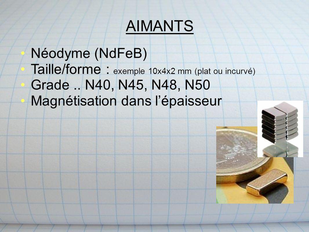 AIMANTS Néodyme (NdFeB) Taille/forme : exemple 10x4x2 mm (plat ou incurvé) Grade..