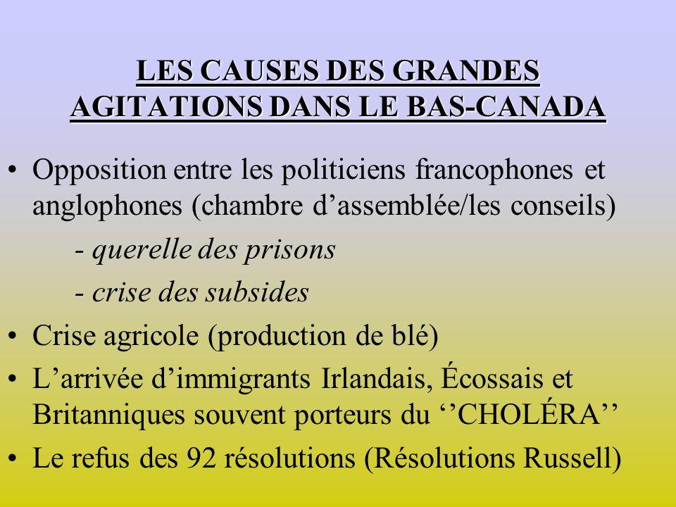 LES CAUSES DES GRANDES AGITATIONS DANS LE BAS-CANADA Opposition entre les politiciens francophones et anglophones (chambre dassemblée/les conseils) - querelle des prisons - crise des subsides Crise agricole (production de blé) Larrivée dimmigrants Irlandais, Écossais et Britanniques souvent porteurs du CHOLÉRA Le refus des 92 résolutions (Résolutions Russell)