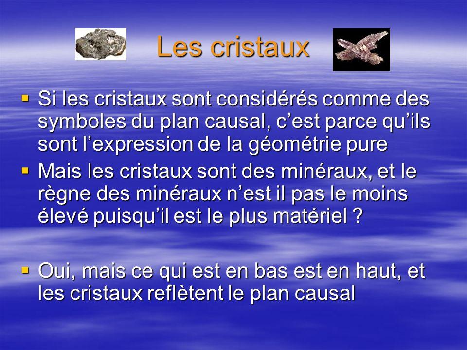 Les cristaux Si les cristaux sont considérés comme des symboles du plan causal, cest parce quils sont lexpression de la géométrie pure Si les cristaux