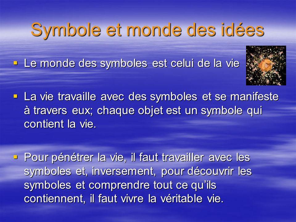 Symbole et monde des idées Le monde des symboles est celui de la vie Le monde des symboles est celui de la vie La vie travaille avec des symboles et s