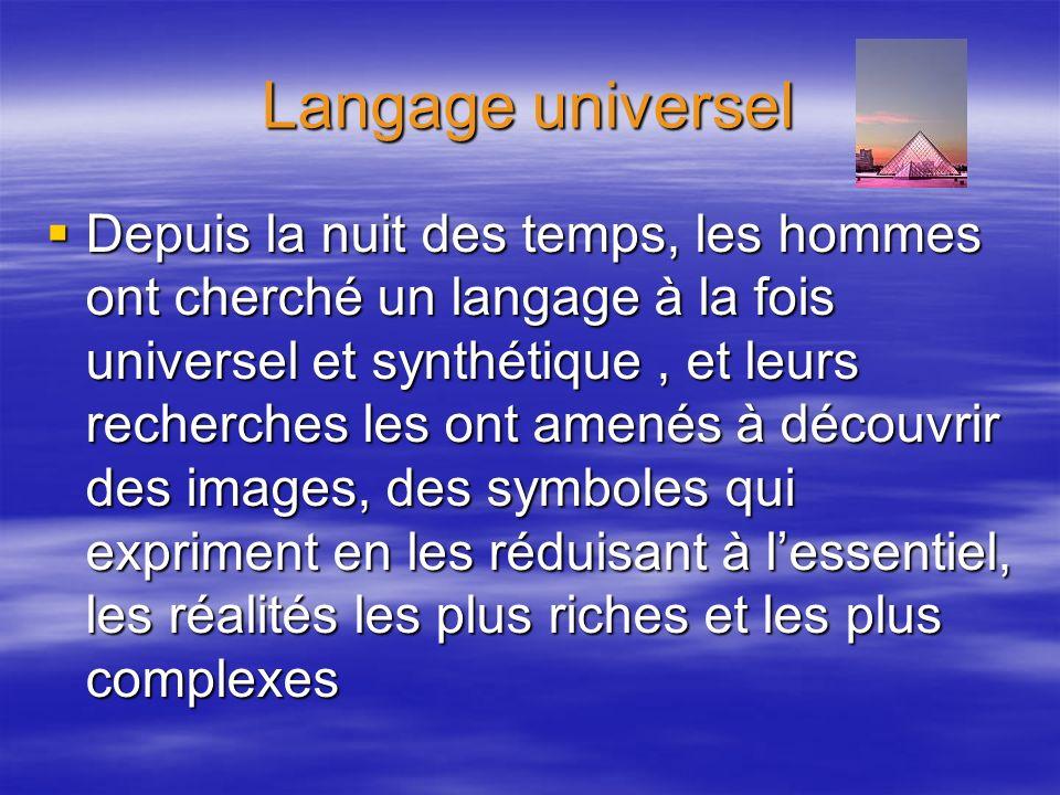 Langage universel Depuis la nuit des temps, les hommes ont cherché un langage à la fois universel et synthétique, et leurs recherches les ont amenés à