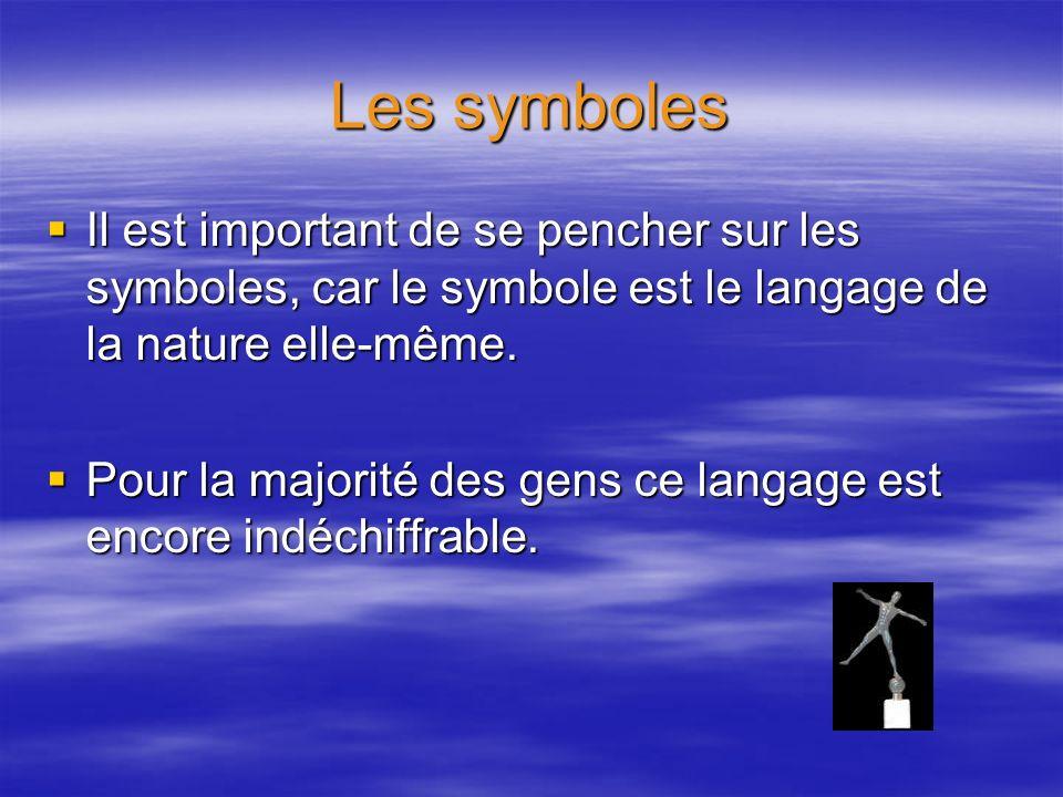 Les symboles Il est important de se pencher sur les symboles, car le symbole est le langage de la nature elle-même. Il est important de se pencher sur