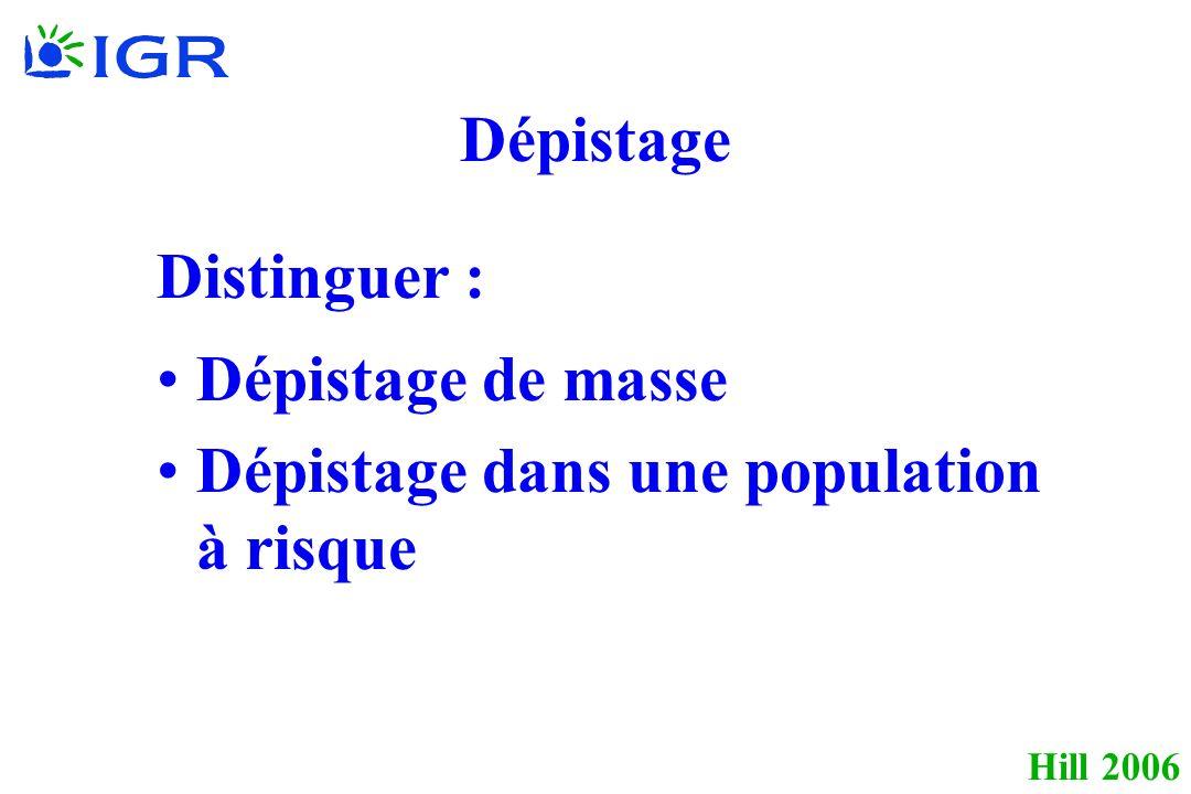 Hill 2006 Dépistage Distinguer : Dépistage de masse Dépistage dans une population à risque