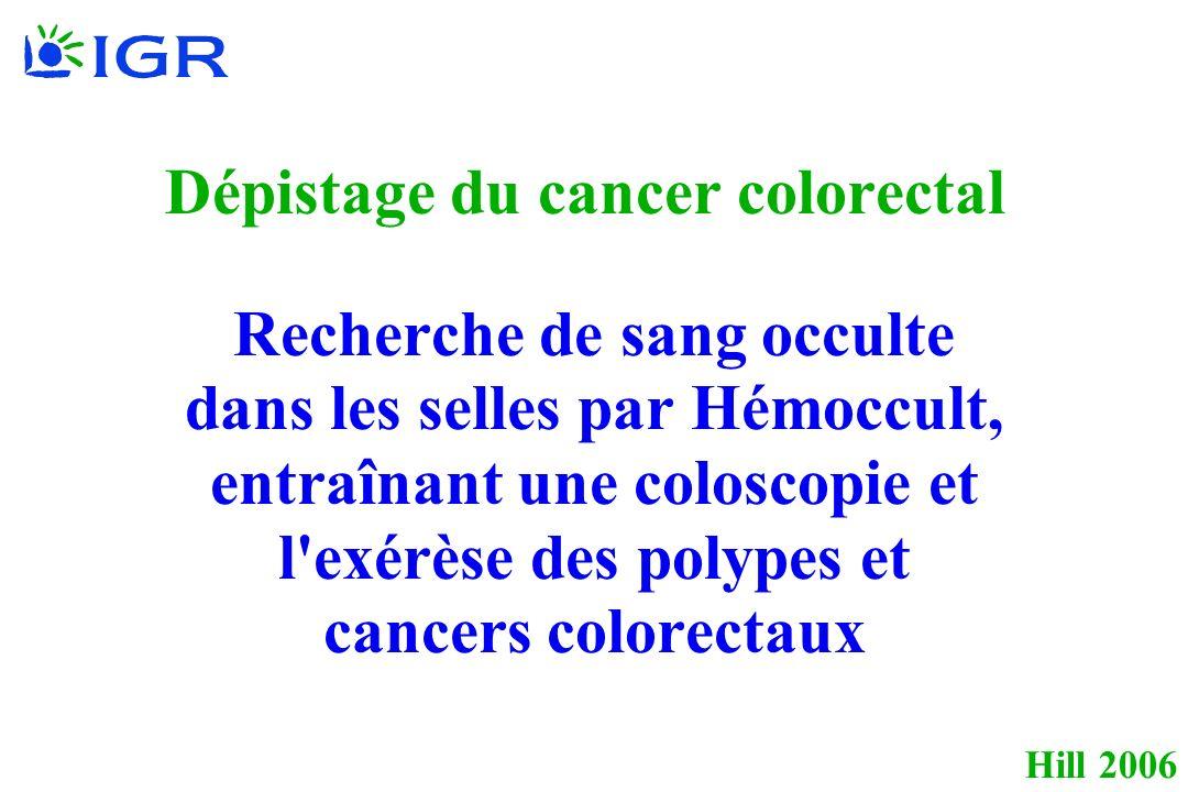 Hill 2006 Dépistage du cancer colorectal Recherche de sang occulte dans les selles par Hémoccult, entraînant une coloscopie et l exérèse des polypes et cancers colorectaux