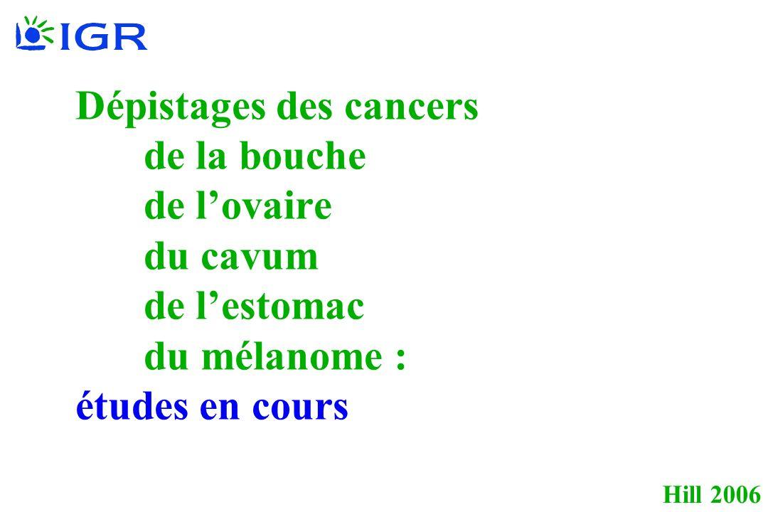 Hill 2006 Dépistages des cancers de la bouche de lovaire du cavum de lestomac du mélanome : études en cours