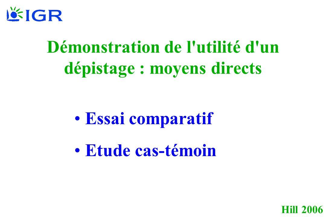 Hill 2006 Démonstration de l utilité d un dépistage : moyens directs Essai comparatif Etude cas-témoin