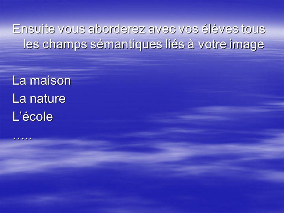 Ensuite vous aborderez avec vos élèves tous les champs sémantiques liés à votre image La maison La nature Lécole…..