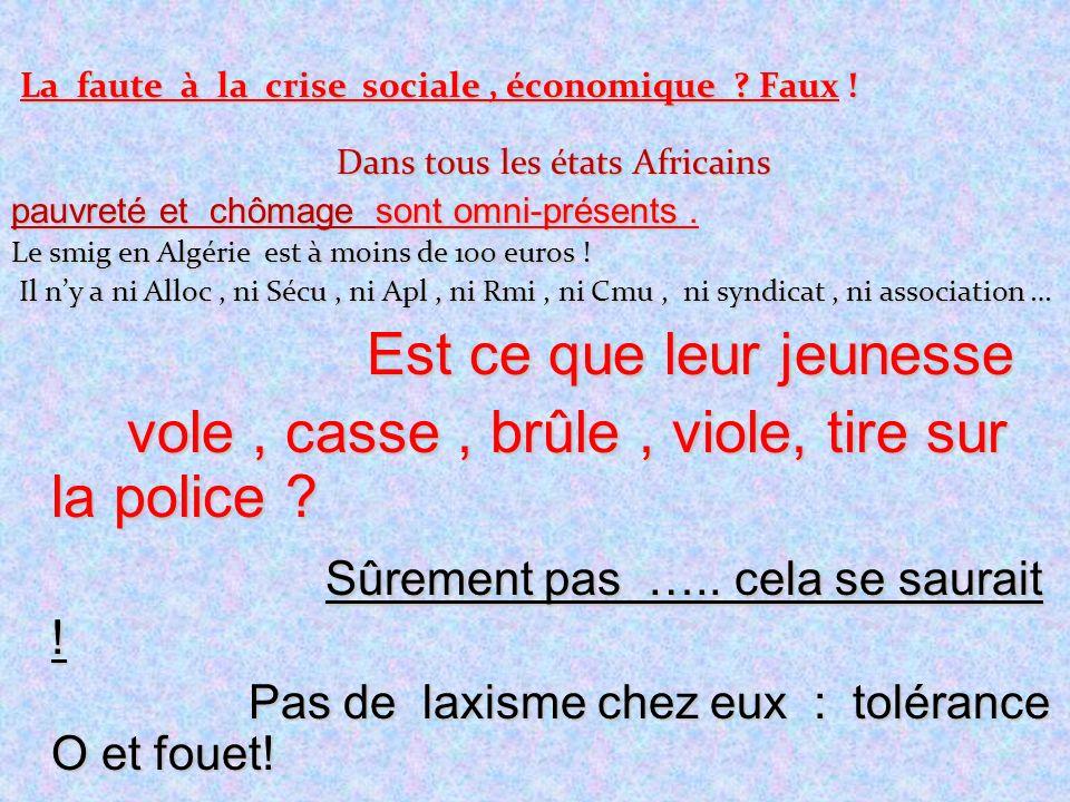 La faute à la crise sociale, économique ? Faux ! Dans tous les états Africains pauvreté et chômage sont omni-présents. Le smig en Algérie est à moins