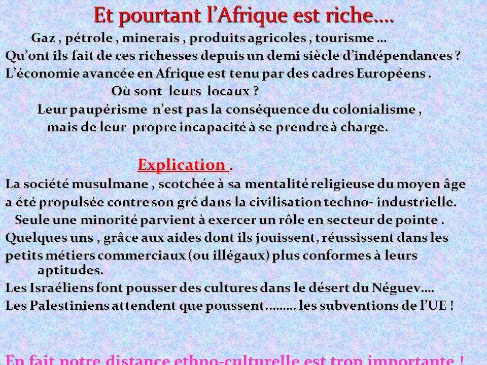 Et pourtant lAfrique est riche…. Gaz, pétrole, minerais, produits agricoles, tourisme … Gaz, pétrole, minerais, produits agricoles, tourisme … Quont i