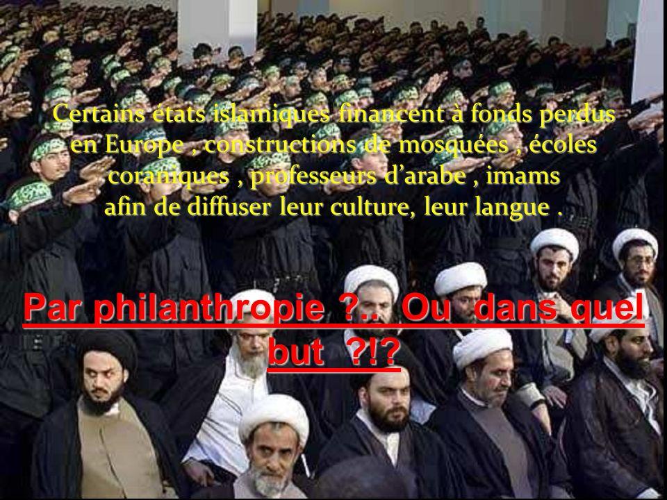 Certains états islamiques financent à fonds perdus en Europe, constructions de mosquées, écoles coraniques, professeurs darabe, imams afin de diffuser